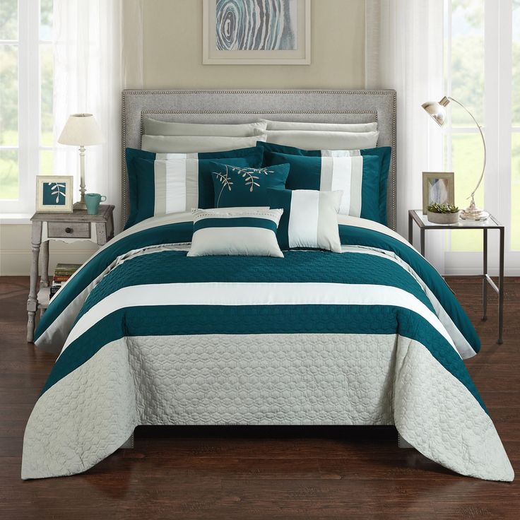 Superb Chic Home 10 Piece Jared Complete Bedroom Set With Octagon Embroidery Color  Block Pattern. Queen Bed In A Bag Comforter Set Teal With Sheet Set