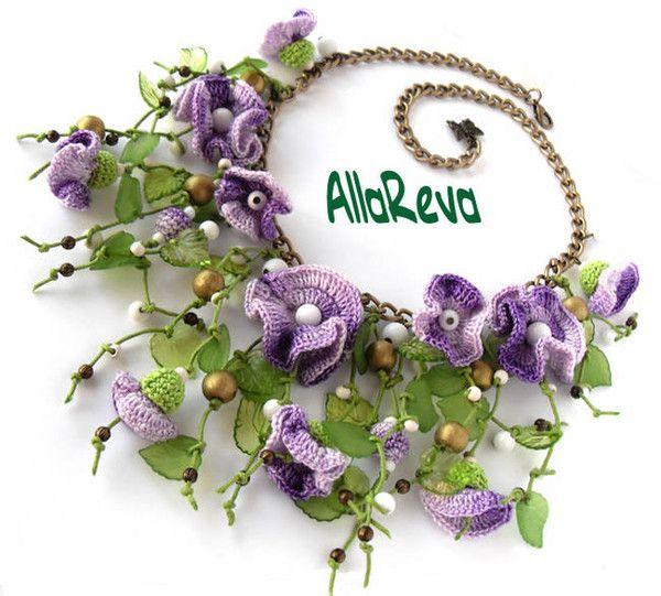 ~Beautiful purple crocheted necklace: Alla Reva. Jewelry designer.