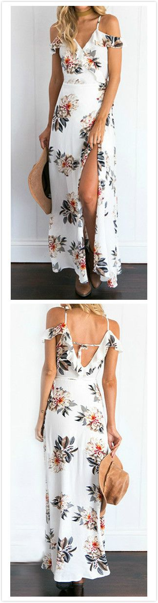 Dress this Floral Print Open Shoulder HIgh Slit Dress up and you'll be comfy and fashion all day long. More surprise at AZBRO!