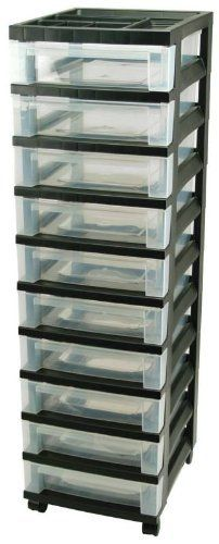 Iris USA 10 Drawer Cart with Organizer Top - Shallow Drawers - Black Frame with Clear Drawers by Iris. $55.47. Includes removable casters and 10 clear drawers. Excellent for classroom or office storage. Great for organization of scrapbook supplies. Sold as a Single Unit with 10 drawers. Recommended by teachers and parents. Shallow Drawer cart with black frame and clear drawers, removable casters as well.