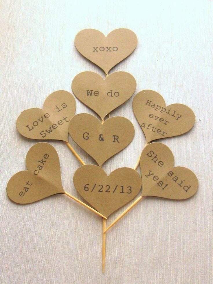 Rustic Cupcake Toppers (100) - Heart Cupcake Toppers, Customized Cupcake Picks, Wedding Cupcake Pick on Luulla