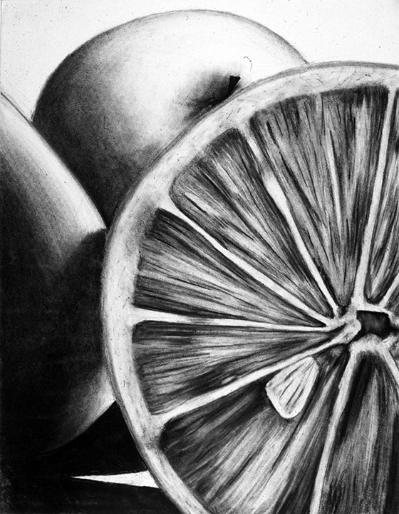 still life of objects - charcoal - student drawing