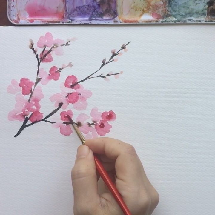 Today S Flower Tutorial Cherry Blossoms This Time I M Saving The Tutorial Here In M Watercolor Flowers Tutorial Cherry Blossom Art Cherry Blossom Wall Art