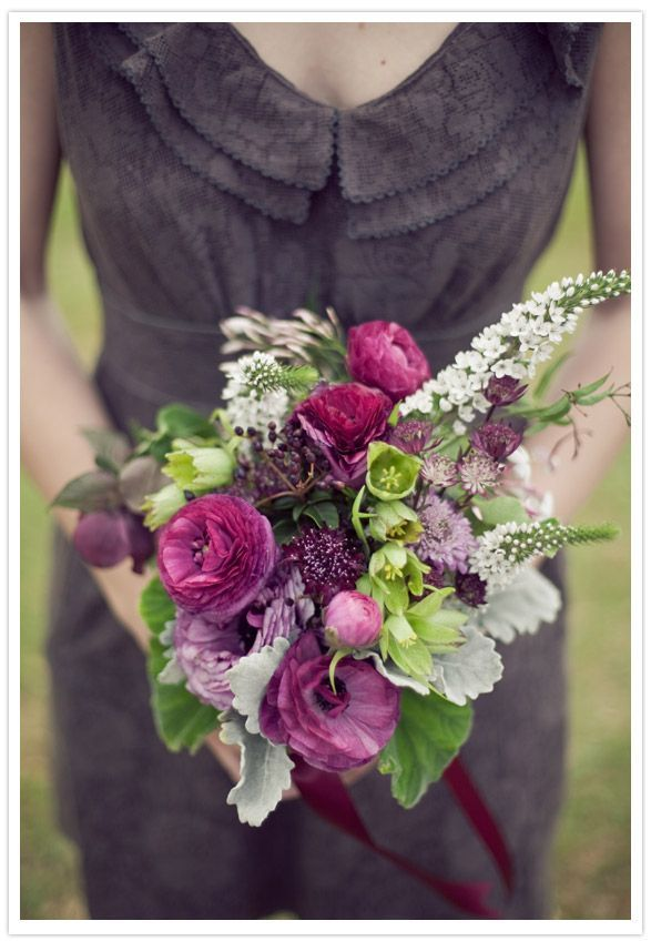 Vintage plum + gold wedding inspiration, grey bridesmaids dresses, purple bridal bouquets