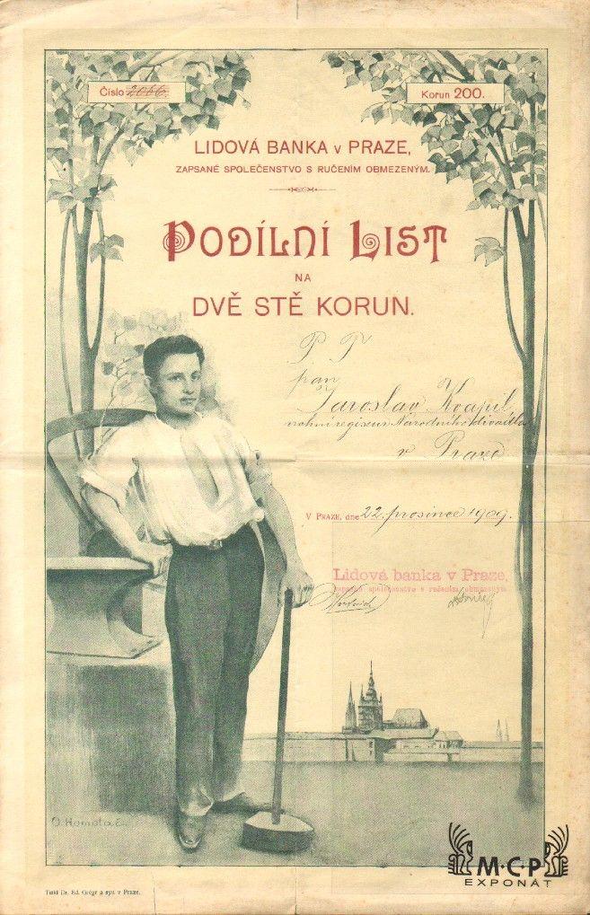 Muzeum cennych papiru A2324 LIDOVÁ BANKA V PRAZE, zapsané společenstvo s ručením obmezeným 1909