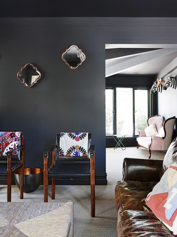 Leather safari chairs in the sitting room. Photo -Eve Wilson, styling -Andrea Moore.