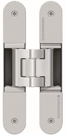 Tectus Hidden Door Hinges. Available in Satin Chrome, Satin Nickel, and Rustic Umber