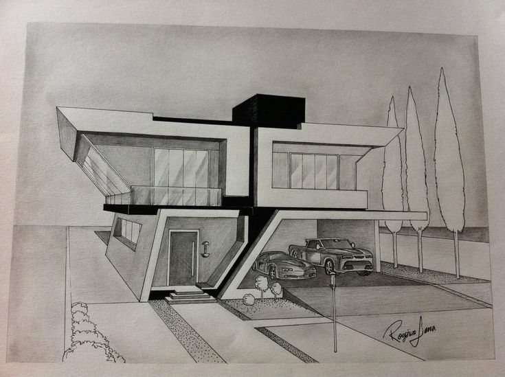 Brilliant Modern Architecture Drawing Architectural Rendering Mid