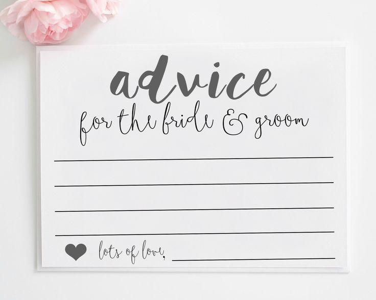 Wedding Advice Cards Printable