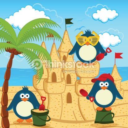 Vector Art : penguin built  sand castle