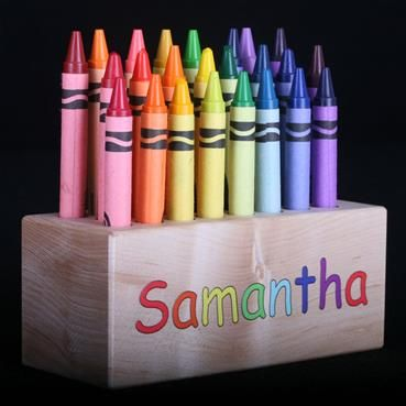 Personalized crayon  holder for kids of all ages.  All natural wooden holder for 24 crayons. Crayola crayons included.  Made in the USA.