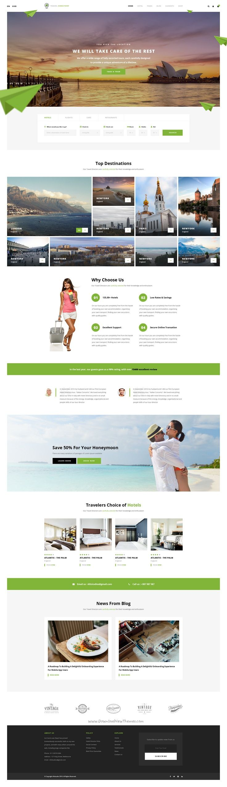 Hotel directory is a modern and perfect psd template for hotels tours and