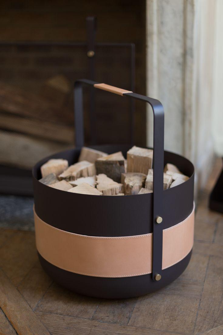 Emma Wood Basket Wood Basket Traditional Fireplace Vegetable Tanned Leather