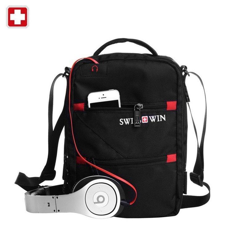 Unisex Swisswin Shoulder Bag Small Messenger Bag for Tablets Black Handbag 11-in