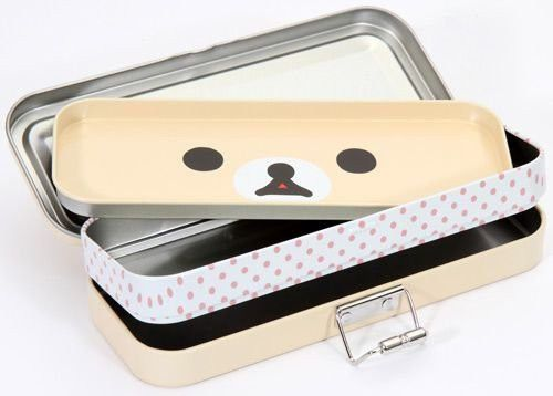 sanx korilakkuma 3 tier tin pencil case imported japan