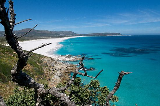 Beautiful long beach at Noordhoek in Cape Town, South Africa.