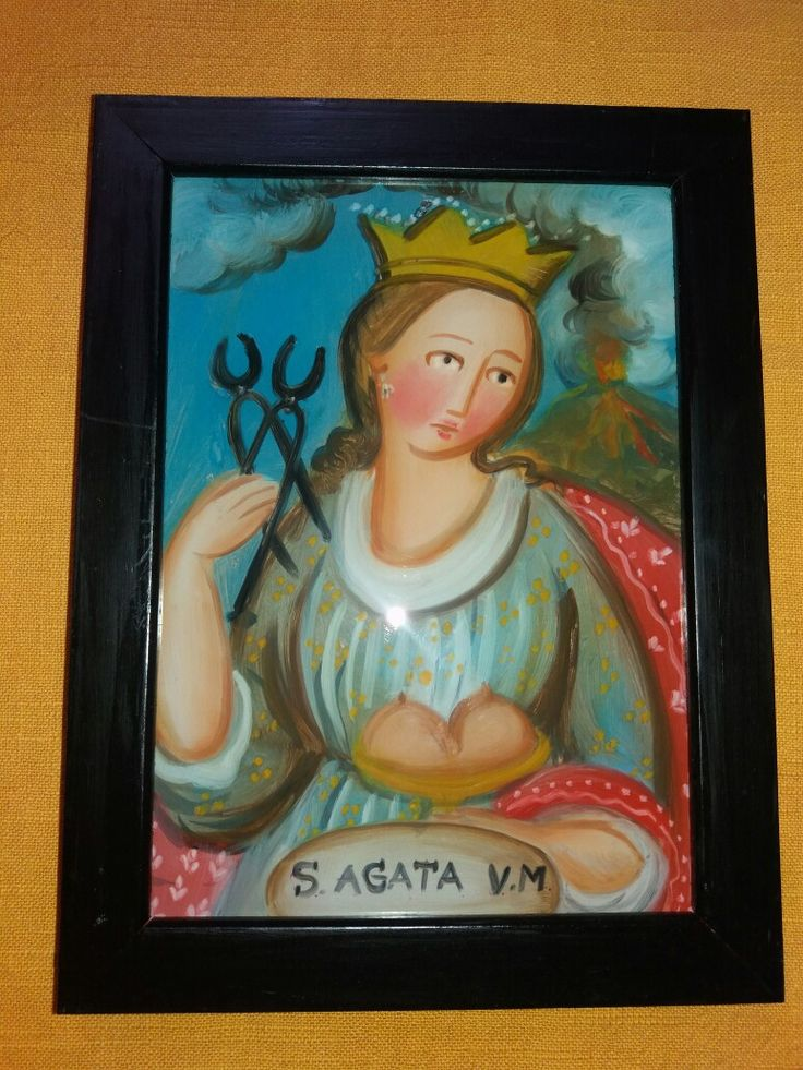 Pittura su Vetro S. Agata cm 18x13 (repro) Per info: pincisanti@hotmail.com