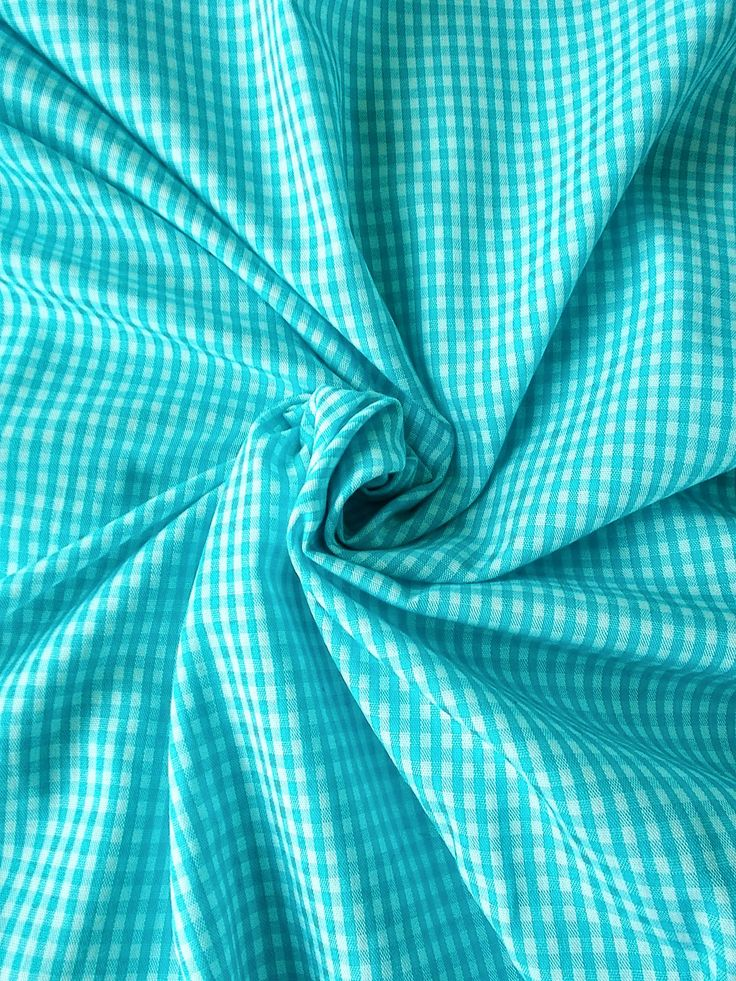 Vintage Checked Taffeta Dress Fabric - 1960's/1970's - White and turquoise - Priced by the metre - Unused