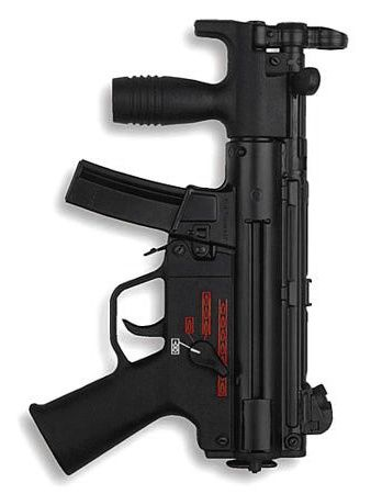 HK MP5KA4 submachine gun with adjustable, open-type iron sights.