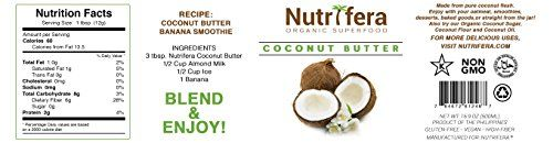 Nutrifera Raw Organic Coconut Butter. 16 Oz. Gluten-free. High in Fiber, Amino Acids, and Folic Acid. Great on Smoothies, Ice Cream, Drizzle on Fruits, Muffins, Home-made Energy bars, and Right Out of the Jar!