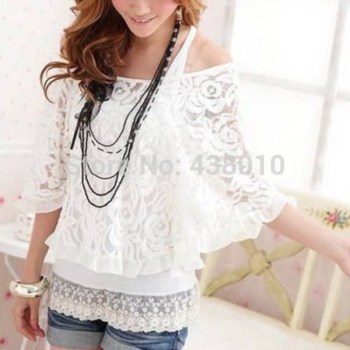 Brand new Women Fashion Casual Loose Lace Batwing sleeve T-shirt Tops White summer casual 2pcs shirt for women