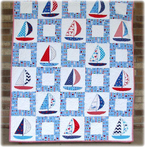 Sailboat Baby Boy Quilt Appliqué by CarleneWestberg on Etsy, $157.00