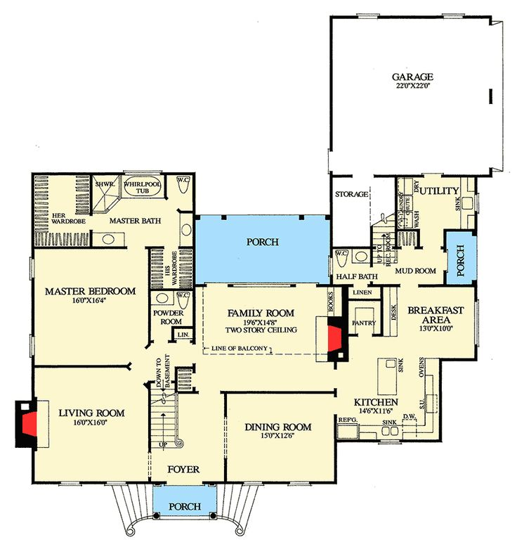 Plan 32627WP: Classic Center Hall Colonial