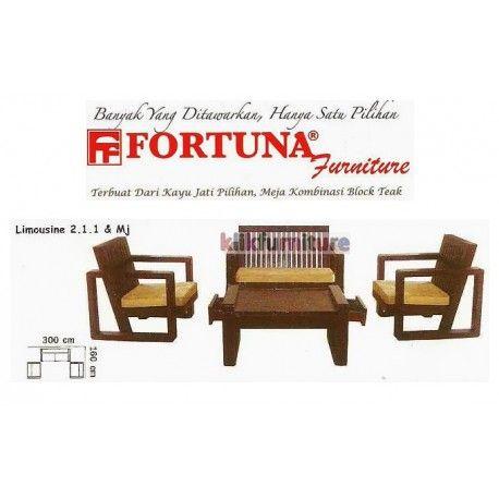 Harga Sofa Fortuna Limousine 211 Condition:  New product  Sofa Jati Tipe Limousine dengan dudukan 211 dan meja Terbuat dari kayu jati pilihan, meja kombinasi block teak