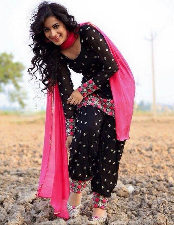 Black Cotton Embroidered Patiala Salwar Suit