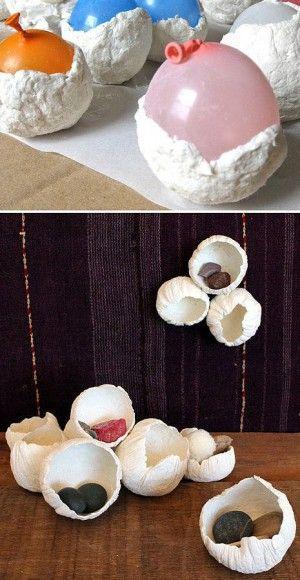 eierschalen gemaakt van zoutdeeg, kan ook met gips.