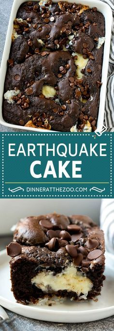Earthquake Cake Recipe | 37K  Share149  Tweet  Yum2  SHARES37K  THISEARTHQUAKE CAKEIS A CHOCOLATE CAKE LOADED WITH COCONUT, PECANS, CREAM CHEESE AND CHOCOLATE CHIPS. A SUPER GOOEY AND DELICIOUS CAKE