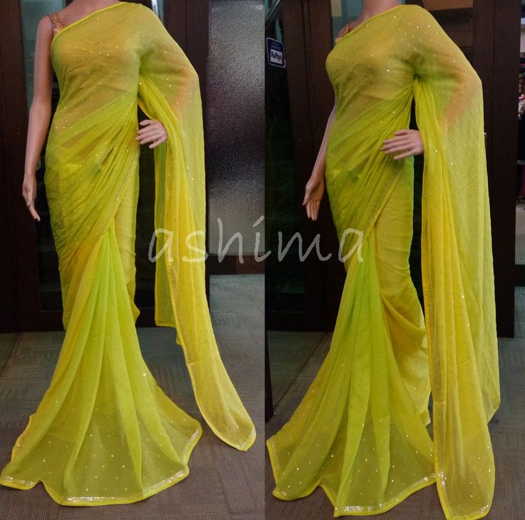 Code:1105162 - Chiffon saree with mirror work, Price INR:6240/-