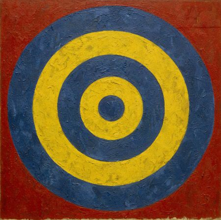 essence --------- Image: Jasper Johns (b. 1930) Target, 1958 oil and collage on canvas 91.44 x 91.44 cm (36 x 36 in.) Collection of the Artist, On Loan Art © Jasper Johns/Licensed by VAGA, New York, NY