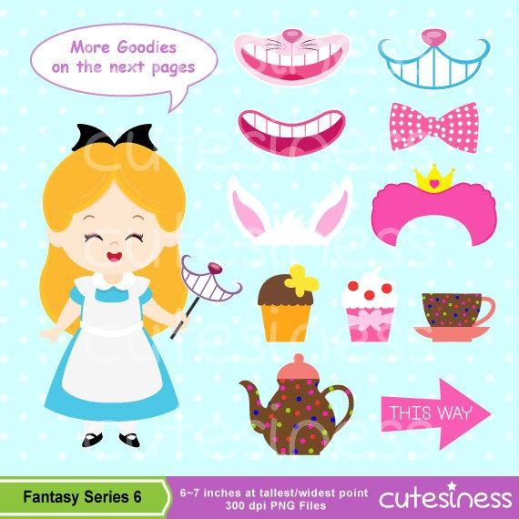 Alice in Wonderland Clipart Alice Tea Party Clipart by Cutesiness, $6.00