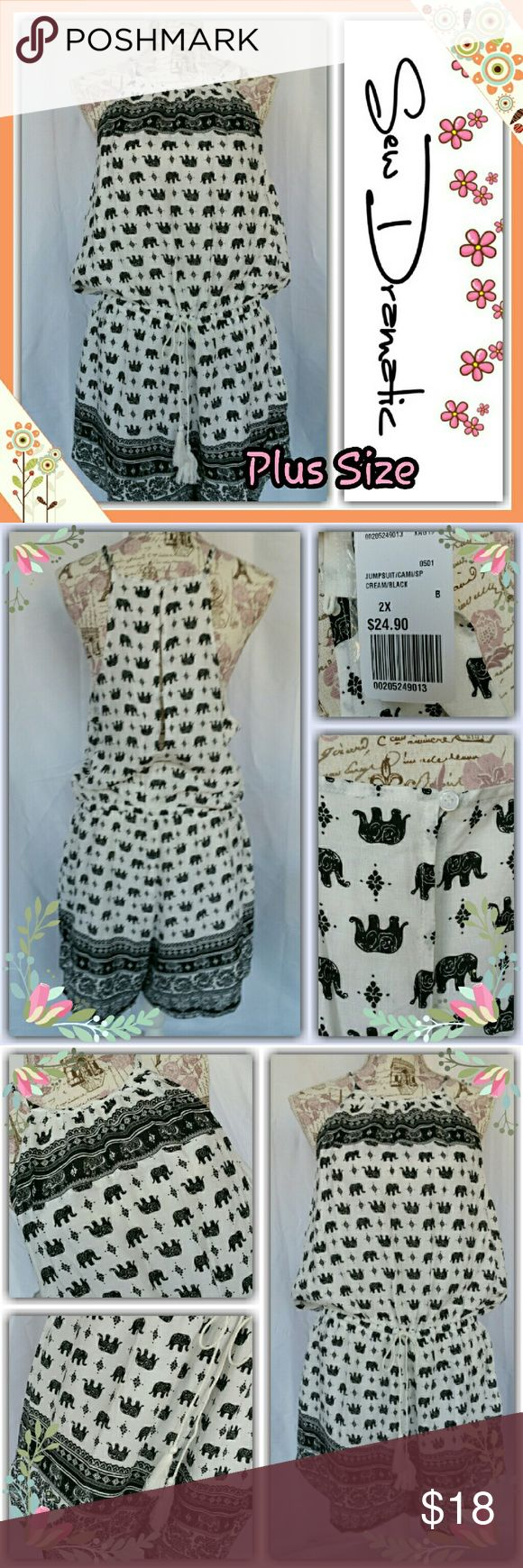 Plus Size Romper Elephant Print Playsuit Cozy plus size playsuit romper with an elephant print design! Romper is lightly lined with a soft cotton blend material.   Adjustable spaghetti straps with buttons down the back.    Forever 21 Plus Size 2X  Romper runs a hair small in the girth (length) most comfortable on a size 1X in my opinion ? and from someone who is a tts 2X it was just a teeny bit uncomfortable in the girth and waist.  I am selling as a 1x Tag reads 2X Forever 21 Pants…