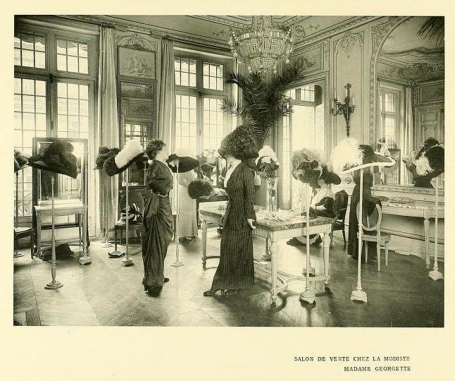 Antique hat shop, Paris, 1910