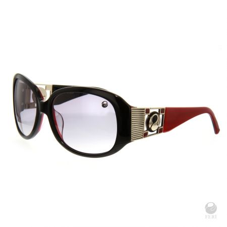 FERI - Singapore Red - Shields  - Red and Black coloured frame - Acetate and metal construction with gold tone embellishment - Unique stone encrusted lens - Lenses are UV 400 and provide protection against harmful UV rays - Acetate is a hypo allergenic plastic - Acetate is used for its shine, color depth and durability  Invest with confidence in FERI Designer Lines.  www.gwtcorp.com/ghem or email fashionforghem.com for big discount