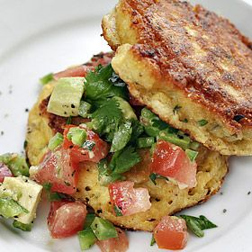 Summer corn cakes with chopped avocado and tomato salsa