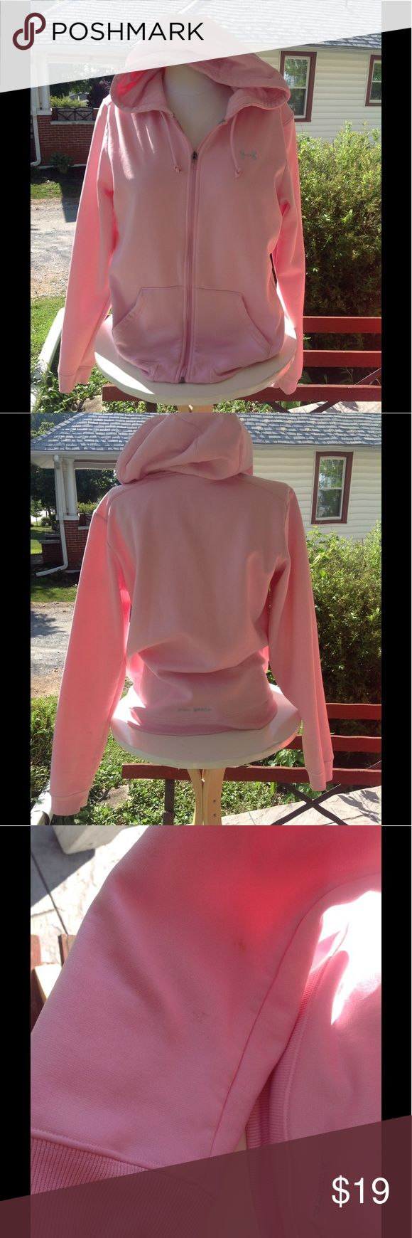 Womans under armour sweatshirt. It is a size xlarge, color is pink, has some stains on the sleeves, in excellent worn condition, sale is final, i do not accept returns. Under Armour Tops Sweatshirts & Hoodies