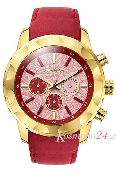 Ποσφορες σε ρολογια γυναικεια: fashion γυναικείο ρολόι Breeze με κόκκινο δερμάτινο λουράκι!!!