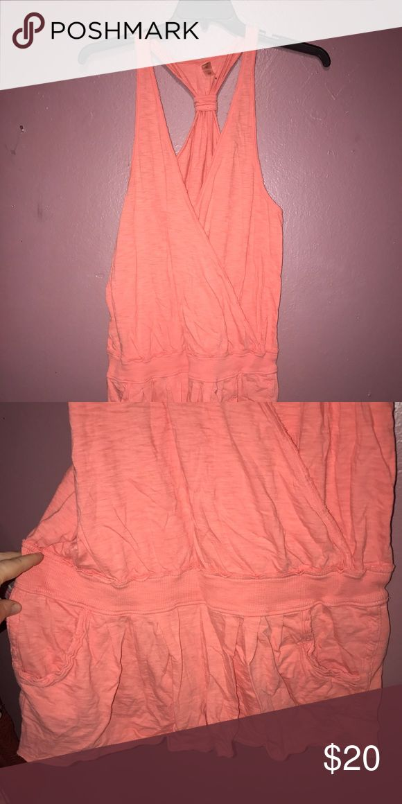 VS bathing suit cover up w pockets! Coral, L, pockets, racer back. Victoria's Secret Swim Coverups