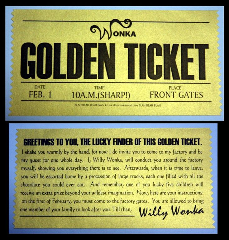 10 best willy wonka party images on Pinterest 5 year olds - lunch ticket template