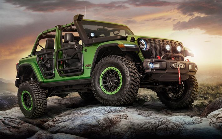 Download wallpapers Jeep Wrangler Rubicon, 2018, Unlimited, green SUV, tuning Rubicon, American cars, Jeep