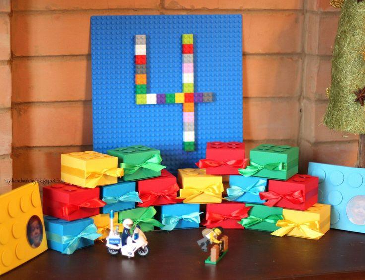 Бонбоньерки и приглашения на день рождения в стиле LEGO