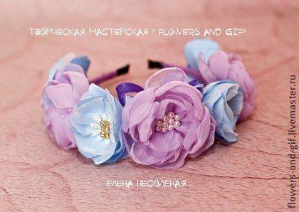 """Ободочек """" Райская нежность"""" - цветочный,ободок для волос,цветы из ткани"""