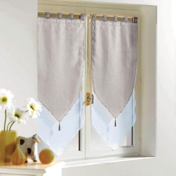 Paio di tende trasparenti (45 x H120 cm) Bicolore Grigio : scegli tra tutti i nostri prodotti Tenda a vetro