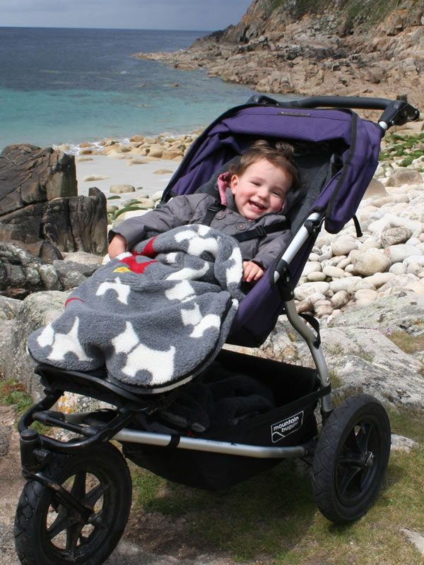 Scottie Dog Buggysnuggle footmuff, photographed at Cott Valley Cove in Cornwall
