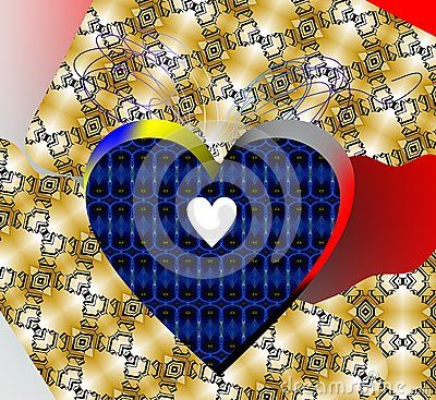 An  blue heart on a broken like textile background with spaces of red and pink.