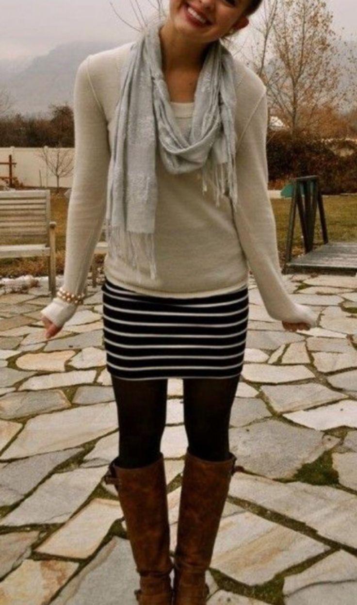 Cute stripe pencil skirt.