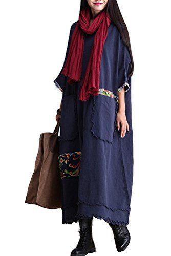 Mordenmiss Women's Bat Sleeve Cotton Linen Clothing Plus Size Dress Dark Blue Mordenmiss http://www.amazon.com/dp/B012ZYWM36/ref=cm_sw_r_pi_dp_SNyewb1YA90DB